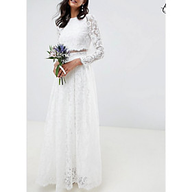 Two Piece A-Line Wedding Dresses Jewel Neck Floor Length Lace Polyester Long Sleeve Casual Boho Plus Size with Draping 2020