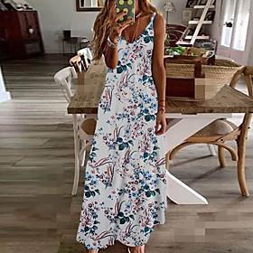 Women's A-Line Dress Maxi long Dress - Sleeveless Floral Summer V Neck Plus Size Holiday Beach vacation dresses Rainbow White Black Blue Yellow Wine Fuchsia Gr