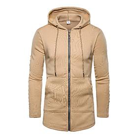 Men's Hooded Winter Trench Coat Regular Solid Colored Daily Basic Long Sleeve Black Army Green Khaki US34 / UK34 / EU42 US36 / UK36 / EU44 US38 / UK38 / EU46 /