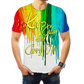 Love wins Men's Daily Weekend Basic T-shirt - Color Block / 3D / Letter RainbowKeep Clam And Carry On Keep Calm and Carry on