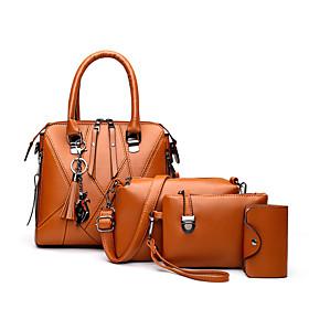 Women's Zipper PU Bag Set Solid Color 4 Pieces Purse Set Black / Brown / Blushing Pink