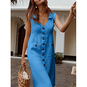 Women's Midi Dress - Sleeveless Button Summer V Neck Plus Size Casual 2020 Black Blue Red Fuchsia Beige S M L XL XXL 3XL 4XL 5XL