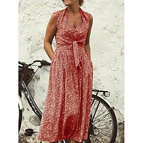 Women's A-Line Dress Midi Dress - Sleeveless Floral Deep V Vintage Maxi Dress Blue Red Yellow S M L XL XXL