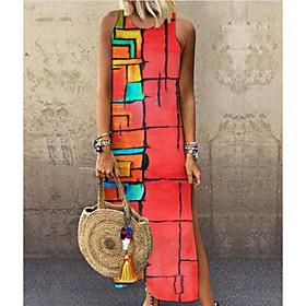 Women's Maxi Shift Dress - Sleeveless Color Block Red S M L XL XXL XXXL XXXXL XXXXXL