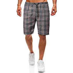 Men's Basic Slim Shorts Pants Plaid Checkered Classic Purple US34 / UK34 / EU42 US36 / UK36 / EU44 US38 / UK38 / EU46 / Drawstring