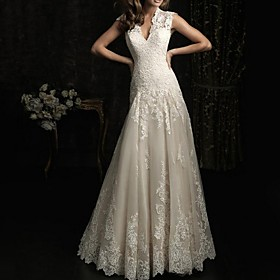 A-Line Wedding Dresses V Neck Sweep / Brush Train Lace Sleeveless Beach with Lace Insert Embroidery 2020