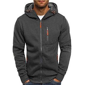 Men's Hooded Trench Coat Regular Solid Colored Daily Basic Long Sleeve Black Dark Gray US34 / UK34 / EU42 US38 / UK38 / EU46 US40 / UK40 / EU48 / Slim
