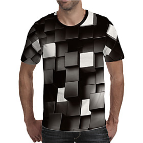 Men's Plus Size Geometric Color Block Print T-shirt Street chic Exaggerated Holiday Going out Round Neck Rainbow / Short Sleeve