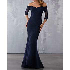 Mermaid / Trumpet Elegant Wedding Guest Formal Evening Dress Off Shoulder Half Sleeve Sweep / Brush Train Lace with Beading Lace Insert Appliques 2020