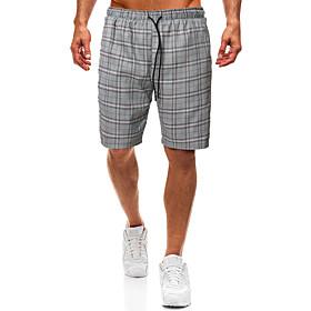 Men's Basic Slim Shorts Pants Plaid Checkered Classic Stripe Gray US34 / UK34 / EU42 US36 / UK36 / EU44 US38 / UK38 / EU46 / Drawstring