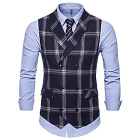 Men's Vest Plaid Black / Navy Blue / Gray US32 / UK32 / EU40 / US34 / UK34 / EU42 / US36 / UK36 / EU44 / Slim