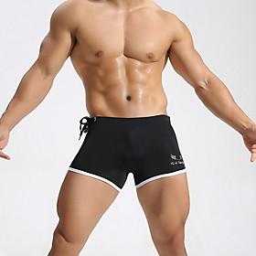 Men's Bottoms Swimsuit Color Block Swimwear Bathing Suits White Black Blue Fuchsia