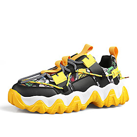 Men's Summer / Fall Sporty Athletic Outdoor Trainers / Athletic Shoes Running Shoes / Walking Shoes Mesh / PU Black / Yellow / Orange