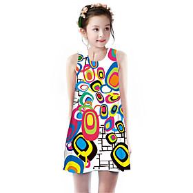 Kids Girls' Basic Cute Unicorn Geometric Rainbow Plaid Print Sleeveless Knee-length Dress Rainbow