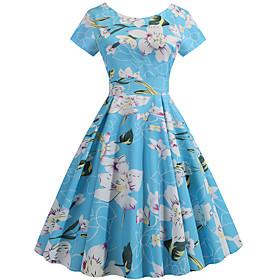 Women's Swing Dress - Short Sleeves Print Patchwork Print Active Cute Party Daily Belt Not Included Blue S M L XL XXL / Cotton