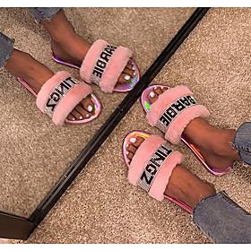 Women's Sandals Flat Sandal Summer Flat Heel Open Toe Daily Satin Black / Pink