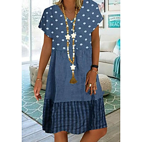 Women's Plus Size Knee Length Dress - Short Sleeves Polka Dot Print Summer Casual Vacation White Blue Khaki Green S M L XL XXL XXXL XXXXL XXXXXL