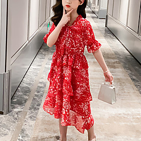 Kids Girls' Cute Red Snowflake Layered Print Short Sleeve Knee-length Dress Red