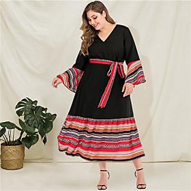 Women's A-Line Dress Maxi long Dress - Long Sleeve Striped Tie Dye Solid Color Patchwork Spring  Summer Fall  Winter V Neck Plus Size Casual Boho Going out Fla