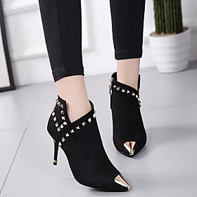 Women's Heels Stiletto Heel Pointed Toe Suede Booties / Ankle Boots Fall  Winter Black