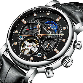 Men's Skeleton Watch Mechanical Watch Mechanical manual-winding Luxury Water Resistant / Waterproof Analog Black Brown Silver / Black / Two Years / Stainless S
