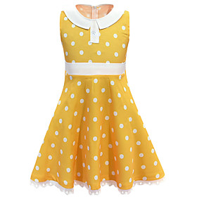 Kids Girls' Basic Cute Polka Dot Lace Sleeveless Knee-length Dress Yellow