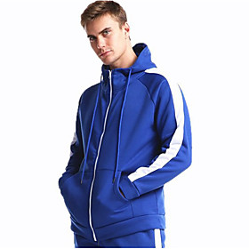 Men's Hoodie Zip Up Hoodie Solid Colored Hooded Sports  Outdoors Basic Hoodies Sweatshirts  Loose Black Blue Red