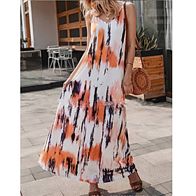 Women's A Line Dress - Sleeveless Print Tie Dye Spring Summer Strap Maxi Dress Holiday Home Brown S M L XL XXL XXXL XXXXL XXXXXL