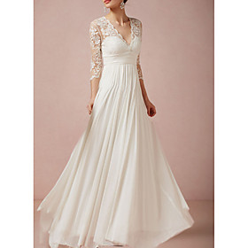 A-Line Wedding Dresses V Neck Floor Length Lace Half Sleeve Country Plus Size with Lace Insert Appliques 2020