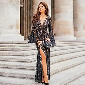 Women's Maxi Sheath Dress - Long Sleeve Solid Color Deep V Black S M L XL
