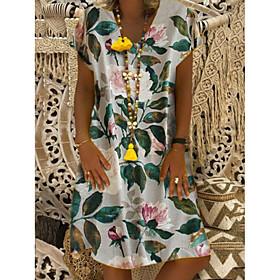 Women's Shift Dress - Short Sleeves Print V Neck Loose White Red Navy Blue Gray S M L XL XXL XXXL