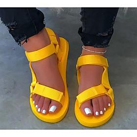 Women's Sandals Flat Sandal Summer Flat Heel Open Toe Daily PU Black / Yellow / Red