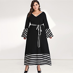 Women's Plus Size Maxi Black  White A Line Dress - Long Sleeve Striped Color Block Solid Color Patchwork Spring  Summer V Neck Casual Boho Daily Going out Flar