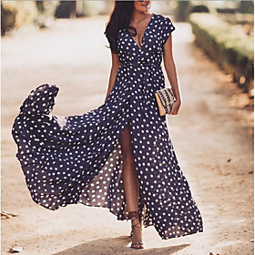 Women's Swing Dress Maxi long Dress - Short Sleeve Polka Dot V Neck Navy Blue S M L XL XXL 3XL