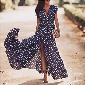 Women's Maxi Swing Dress - Short Sleeves Polka Dot V Neck Navy Blue S M L XL XXL XXXL