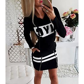 Women's Sheath Dress - Long Sleeve Solid Colored Print Sporty Daily Wear Black Red Gray S M L XL