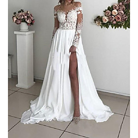 A-Line Wedding Dresses Off Shoulder Sweep / Brush Train Chiffon Taffeta Stretch Satin Long Sleeve Country Sexy Plus Size with Lace Appliques Split Front 2020