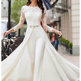 Two Piece Jumpsuits A-Line Wedding Dresses Jewel Neck Court Train Polyester Long Sleeve Formal Plus Size with Lace Sashes / Ribbons Crystals 2020