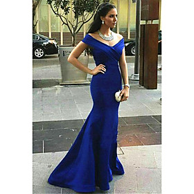 Mermaid / Trumpet Elegant Minimalist Formal Evening Dress V Neck Sleeveless Sweep / Brush Train Nylon with Criss Cross Ruched 2020