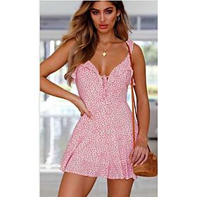 Women's Sheath Dress - Sleeveless Print Strap Blue Blushing Pink S M L