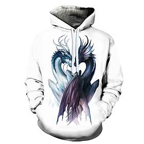 Men's Hoodie 3D Cartoon Character Hooded 3D Print Casual Hoodies Sweatshirts  White