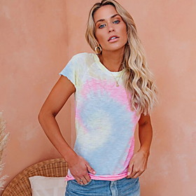 Women's Daily T-shirt Color Block Print Short Sleeve Tops Blushing Pink
