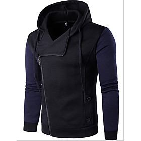 Men's Hoodie Zip Up Hoodie Color Block Hooded Casual Hoodies Sweatshirts  Black Dark Gray Navy Blue