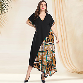 Women's A-Line Dress Maxi long Dress - Long Sleeve Print Solid Color Tribal Patchwork Print Spring  Summer V Neck Plus Size Casual Vintage Going out Batwing Sl