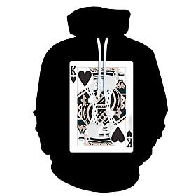 Men's Hoodie 3D Cartoon Character Hooded 3D Print Casual Hoodies Sweatshirts  Black