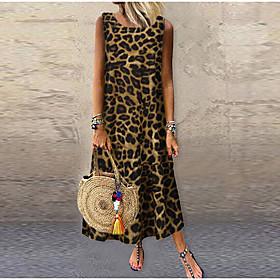 Women's Maxi Sheath Dress - Long Sleeve Leopard Elegant Black Yellow Beige L XL XXL XXXL XXXXL XXXXXL