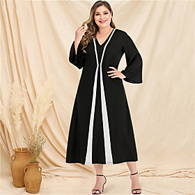 Women's A-Line Dress Maxi long Dress - Long Sleeve Color Block Solid Color Patchwork V Neck Plus Size Casual Streetwear Going out Flare Cuff Sleeve Black L XL