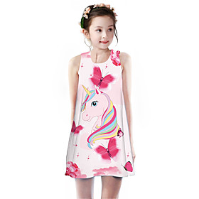 Kids Girls' Basic Cute Unicorn Rainbow Animal Cartoon Print Sleeveless Knee-length Dress Blushing Pink