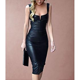 Women's 2020 Black Dress Sexy Spring  Summer Party Bodycon Sheath Solid Color Camisole Deep U Plastic Drop S M