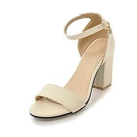 Women's Sandals Heel Sandals Black Sandals Fall / Spring  Summer Chunky Heel Open Toe Vintage British Party  Evening Office  Career PU Black / Pink / Beige
